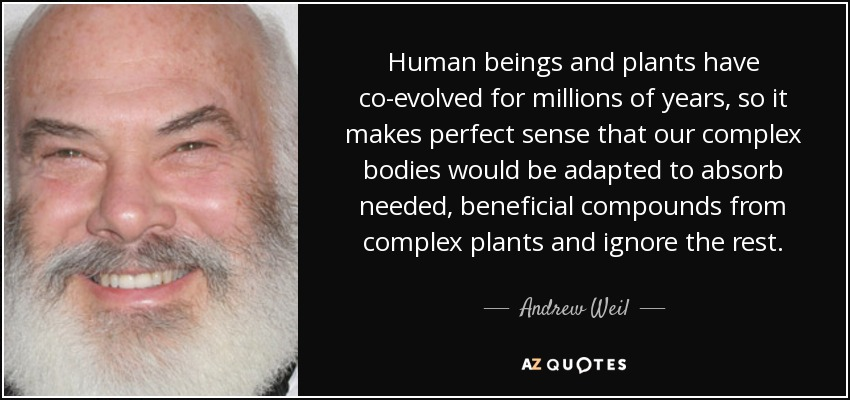 Human beings and plants have co-evolved for millions of years, so it makes perfect sense that our complex bodies would be adapted to absorb needed, beneficial compounds from complex plants and ignore the rest. - Andrew Weil