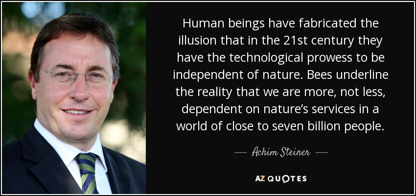 Human beings have fabricated the illusion that in the 21st century they have the technological prowess to be independent of nature. Bees underline the reality that we are more, not less, dependent on nature's services in a world of close to seven billion people. - Achim Steiner