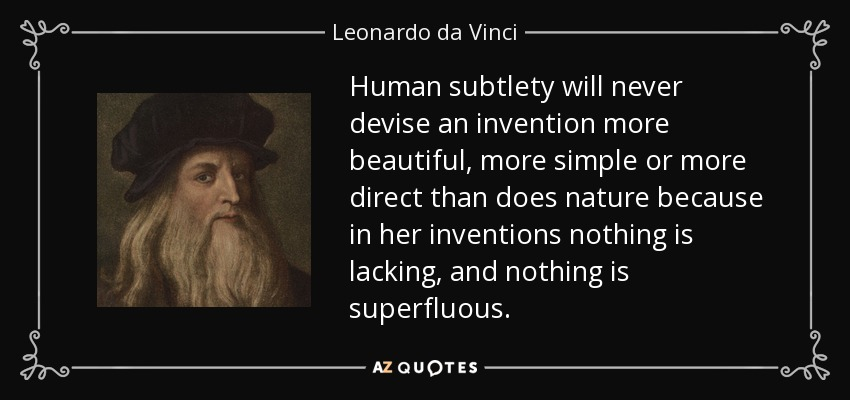 Human subtlety will never devise an invention more beautiful, more simple or more direct than does nature because in her inventions nothing is lacking, and nothing is superfluous. - Leonardo da Vinci