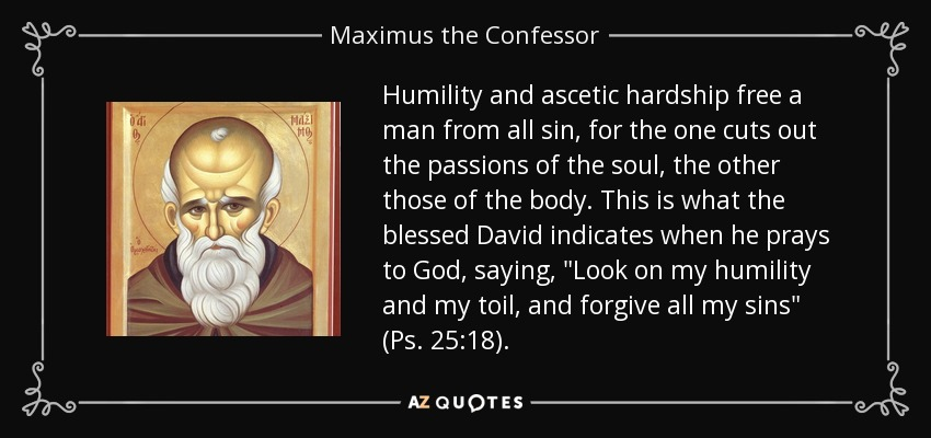 Humility and ascetic hardship free a man from all sin, for the one cuts out the passions of the soul, the other those of the body. This is what the blessed David indicates when he prays to God, saying,