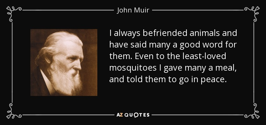I always befriended animals and have said many a good word for them. Even to the least-loved mosquitoes I gave many a meal, and told them to go in peace. - John Muir