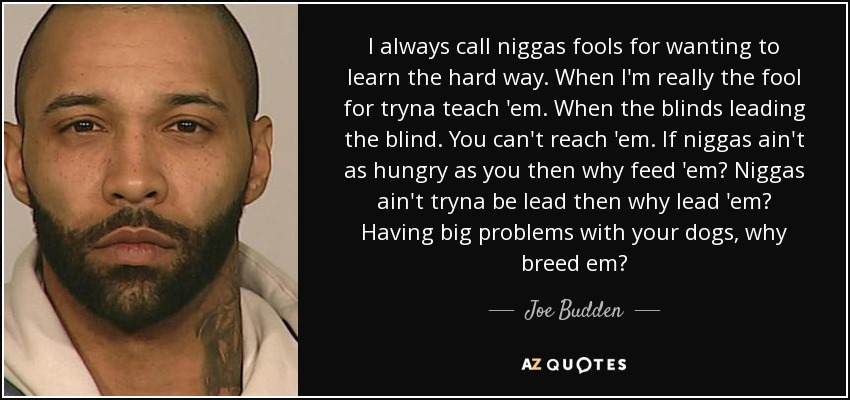 I always call niggas fools for wanting to learn the hard way. When I'm really the fool for tryna teach 'em. When the blinds leading the blind. You can't reach 'em. If niggas ain't as hungry as you then why feed 'em? Niggas ain't tryna be lead then why lead 'em? Having big problems with your dogs, why breed em? - Joe Budden