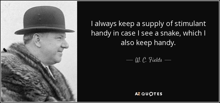 I always keep a supply of stimulant handy in case I see a snake, which I also keep handy. - W. C. Fields