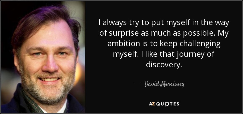 I always try to put myself in the way of surprise as much as possible. My ambition is to keep challenging myself. I like that journey of discovery. - David Morrissey