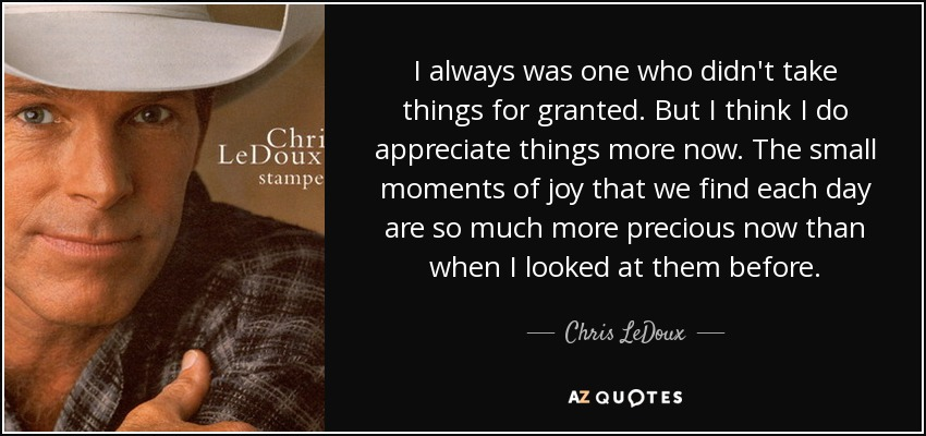 I always was one who didn't take things for granted. But I think I do appreciate things more now. The small moments of joy that we find each day are so much more precious now than when I looked at them before. - Chris LeDoux