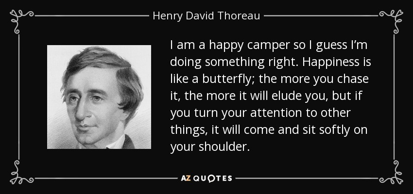 I am a happy camper so I guess I'm doing something right. Happiness is like a butterfly; the more you chase it, the more it will elude you, but if you turn your attention to other things, it will come and sit softly on your shoulder. - Henry David Thoreau