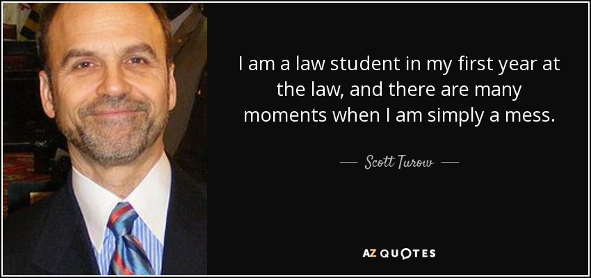 I am a law student in my first year at the law, and there are many moments when I am simply a mess. - Scott Turow