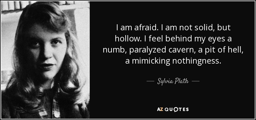 I am afraid. I am not solid, but hollow. I feel behind my eyes a numb, paralyzed cavern, a pit of hell, a mimicking nothingness. - Sylvia Plath