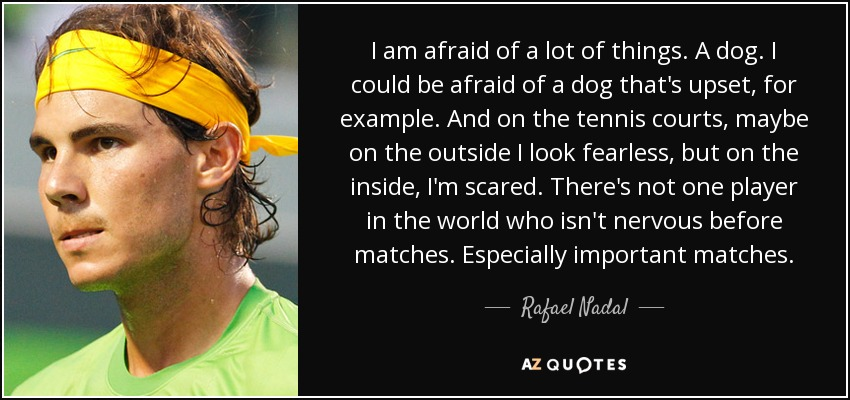 I am afraid of a lot of things. A dog. I could be afraid of a dog that's upset, for example. And on the tennis courts, maybe on the outside I look fearless, but on the inside, I'm scared. There's not one player in the world who isn't nervous before matches. Especially important matches. - Rafael Nadal