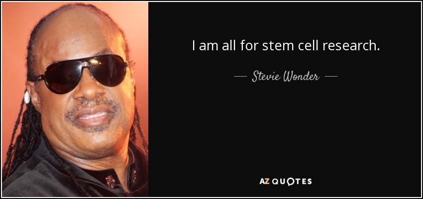 I am all for stem cell research. - Stevie Wonder
