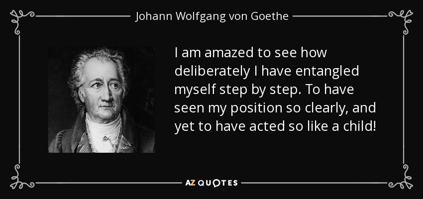 I am amazed to see how deliberately I have entangled myself step by step. To have seen my position so clearly, and yet to have acted so like a child! - Johann Wolfgang von Goethe