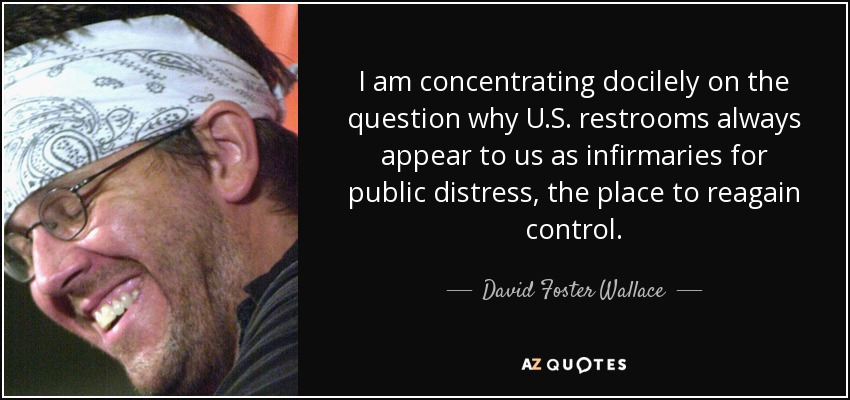 I am concentrating docilely on the question why U.S. restrooms always appear to us as infirmaries for public distress, the place to reagain control. - David Foster Wallace