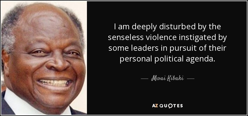 I am deeply disturbed by the senseless violence instigated by some leaders in pursuit of their personal political agenda. - Mwai Kibaki