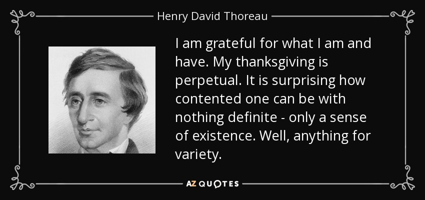 I am grateful for what I am and have. My thanksgiving is perpetual. It is surprising how contented one can be with nothing definite - only a sense of existence. Well, anything for variety. - Henry David Thoreau
