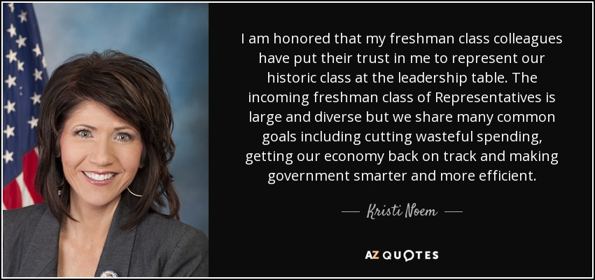I am honored that my freshman class colleagues have put their trust in me to represent our historic class at the leadership table. The incoming freshman class of Representatives is large and diverse but we share many common goals including cutting wasteful spending, getting our economy back on track and making government smarter and more efficient. - Kristi Noem