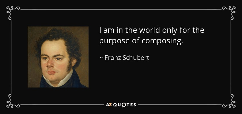I am in the world only for the purpose of composing. - Franz Schubert