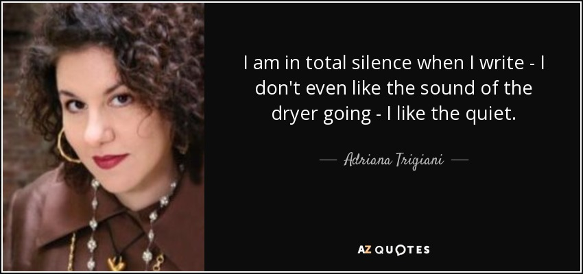 I am in total silence when I write - I don't even like the sound of the dryer going - I like the quiet. - Adriana Trigiani