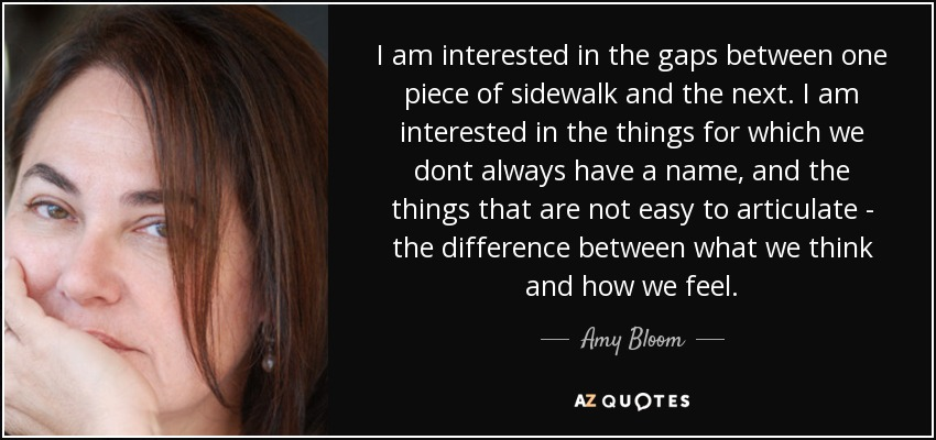 I am interested in the gaps between one piece of sidewalk and the next. I am interested in the things for which we dont always have a name, and the things that are not easy to articulate - the difference between what we think and how we feel. - Amy Bloom