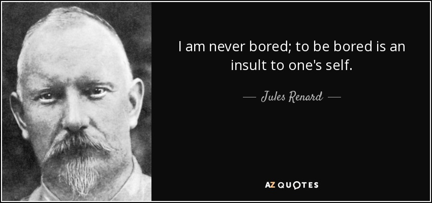 I am never bored; to be bored is an insult to one's self. - Jules Renard