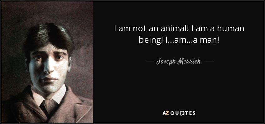 Joseph Merrick Quote I Am Not An Animal I Am A Human Being