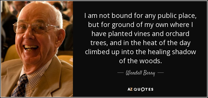 I am not bound for any public place, but for ground of my own where I have planted vines and orchard trees, and in the heat of the day climbed up into the healing shadow of the woods. - Wendell Berry