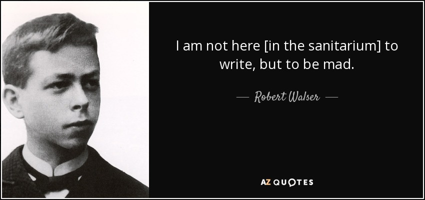I am not here [in the sanitarium] to write, but to be mad. - Robert Walser