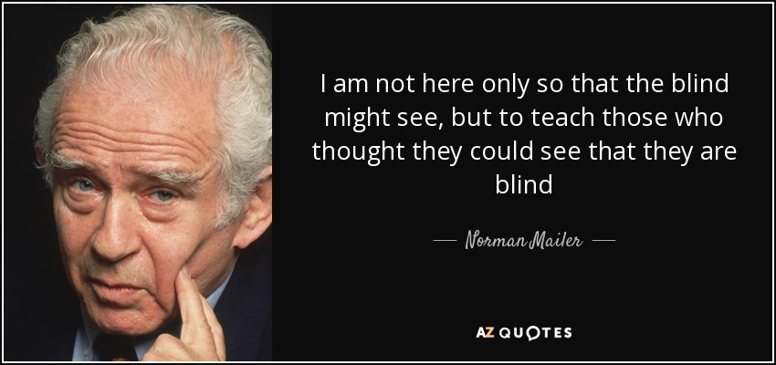I am not here only so that the blind might see, but to teach those who thought they could see that they are blind - Norman Mailer