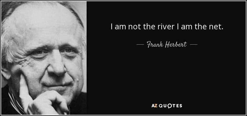 I am not the river I am the net. - Frank Herbert