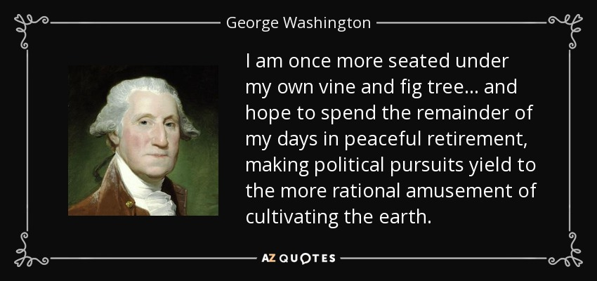 I am once more seated under my own vine and fig tree ... and hope to spend the remainder of my days in peaceful retirement, making political pursuits yield to the more rational amusement of cultivating the earth. - George Washington