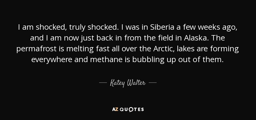 I am shocked, truly shocked. I was in Siberia a few weeks ago, and I am now just back in from the field in Alaska. The permafrost is melting fast all over the Arctic, lakes are forming everywhere and methane is bubbling up out of them. - Katey Walter