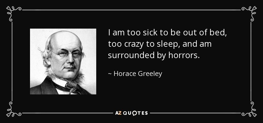 I am too sick to be out of bed, too crazy to sleep, and am surrounded by horrors. - Horace Greeley