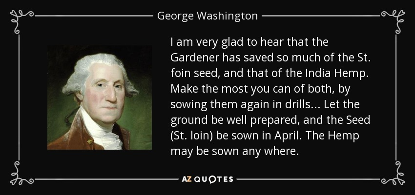 I am very glad to hear that the Gardener has saved so much of the St. foin seed, and that of the India Hemp. Make the most you can of both, by sowing them again in drills. . . Let the ground be well prepared, and the Seed (St. loin) be sown in April. The Hemp may be sown any where. - George Washington