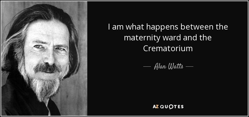 I am what happens between the maternity ward and the Crematorium - Alan Watts