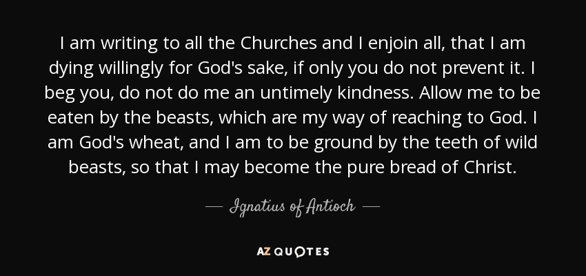 I am writing to all the Churches and I enjoin all, that I am dying willingly for God's sake, if only you do not prevent it. I beg you, do not do me an untimely kindness. Allow me to be eaten by the beasts, which are my way of reaching to God. I am God's wheat, and I am to be ground by the teeth of wild beasts, so that I may become the pure bread of Christ. - Ignatius of Antioch