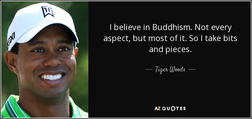 I believe in Buddhism. Not every aspect, but most of it. So I take bits and pieces. - Tiger Woods
