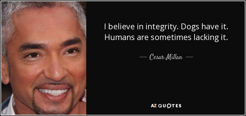 I believe in integrity. Dogs have it. Humans are sometimes lacking it. - Cesar Millan