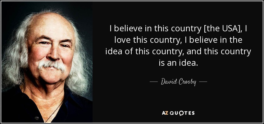 I believe in this country [the USA], I love this country, I believe in the idea of this country, and this country is an idea. - David Crosby
