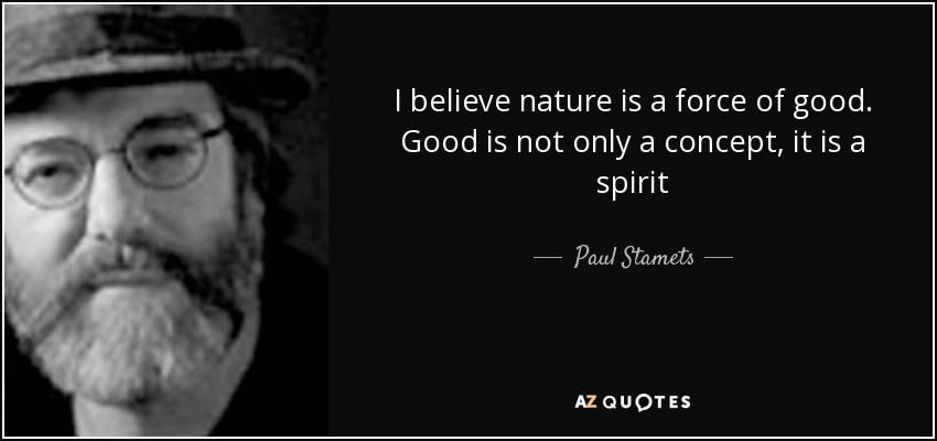 I believe nature is a force of good. Good is not only a concept, it is a spirit - Paul Stamets