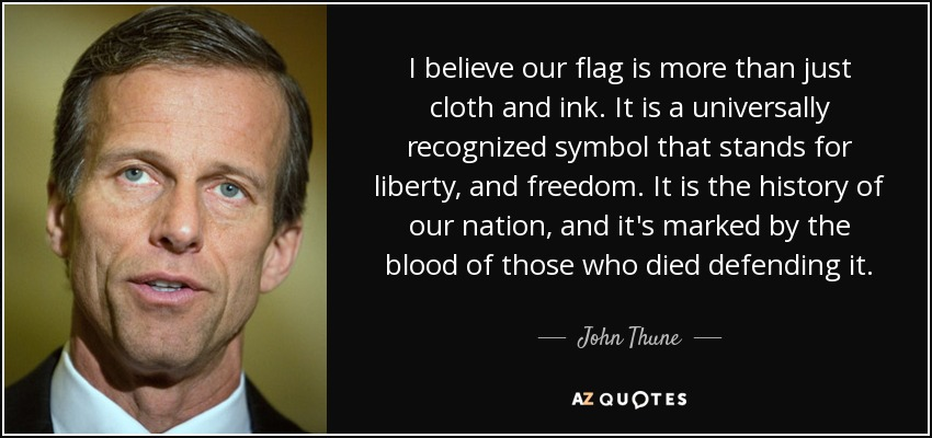 I believe our flag is more than just cloth and ink. It is a universally recognized symbol that stands for liberty, and freedom. It is the history of our nation, and it's marked by the blood of those who died defending it. - John Thune
