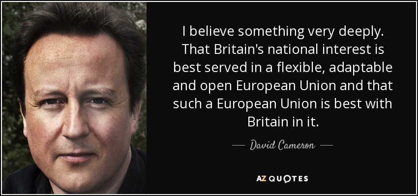 I believe something very deeply. That Britain's national interest is best served in a flexible, adaptable and open European Union and that such a European Union is best with Britain in it. - David Cameron