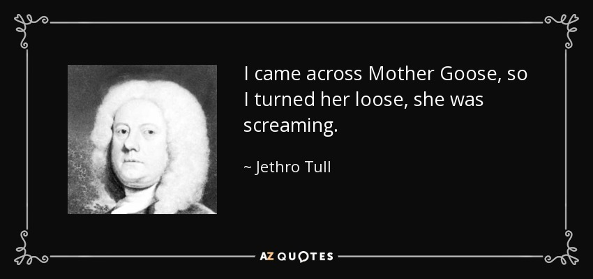 I came across Mother Goose, so I turned her loose, she was screaming. - Jethro Tull