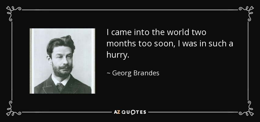 I came into the world two months too soon, I was in such a hurry. - Georg Brandes
