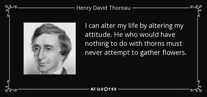 I can alter my life by altering my attitude. He who would have nothing to do with thorns must never attempt to gather flowers. - Henry David Thoreau