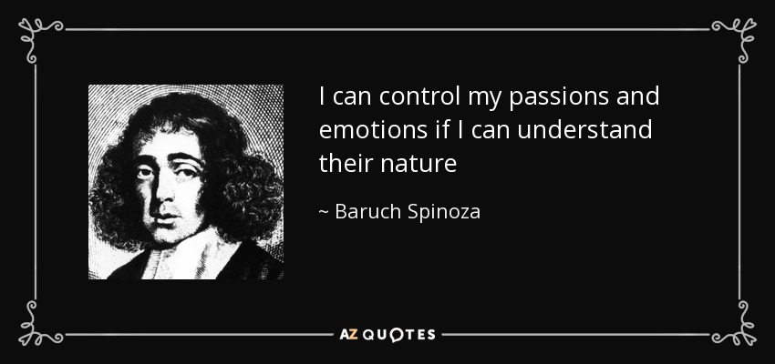 I can control my passions and emotions if I can understand their nature - Baruch Spinoza
