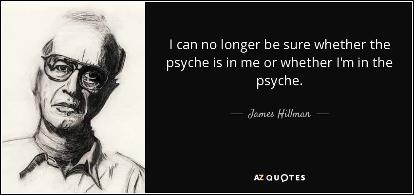 I can no longer be sure whether the psyche is in me or whether I'm in the psyche... - James Hillman