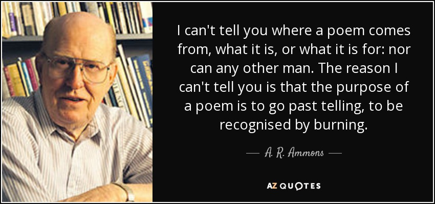 I can't tell you where a poem comes from, what it is, or what it is for: nor can any other man. The reason I can't tell you is that the purpose of a poem is to go past telling, to be recognised by burning. - A. R. Ammons