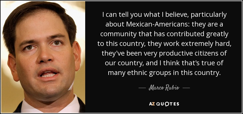I can tell you what I believe, particularly about Mexican-Americans: they are a community that has contributed greatly to this country, they work extremely hard, they've been very productive citizens of our country, and I think that's true of many ethnic groups in this country. - Marco Rubio