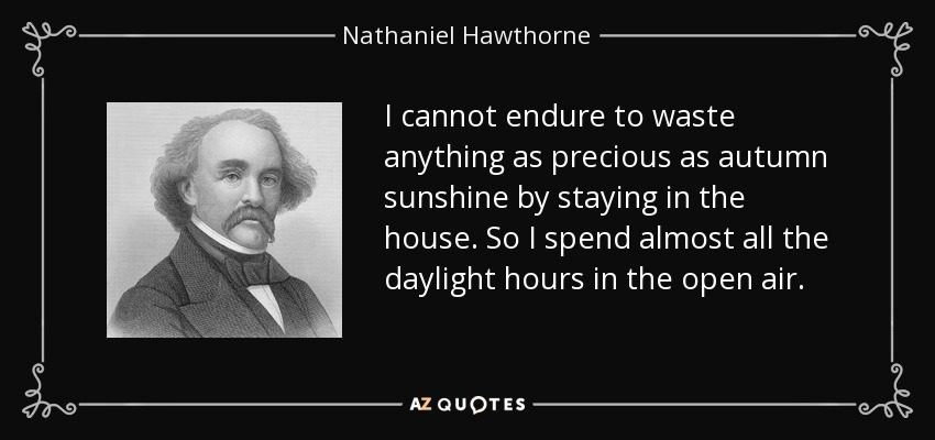 I cannot endure to waste anything as precious as autumn sunshine by staying in the house. So I spend almost all the daylight hours in the open air. - Nathaniel Hawthorne