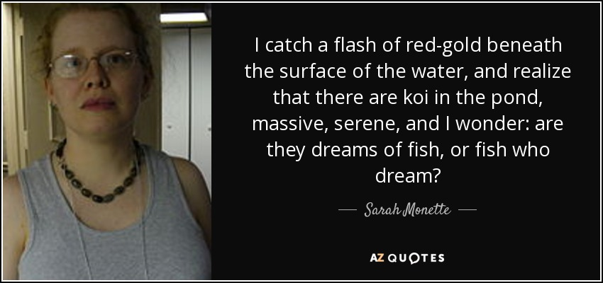 I catch a flash of red-gold beneath the surface of the water, and realize that there are koi in the pond, massive, serene, and I wonder: are they dreams of fish, or fish who dream? - Sarah Monette