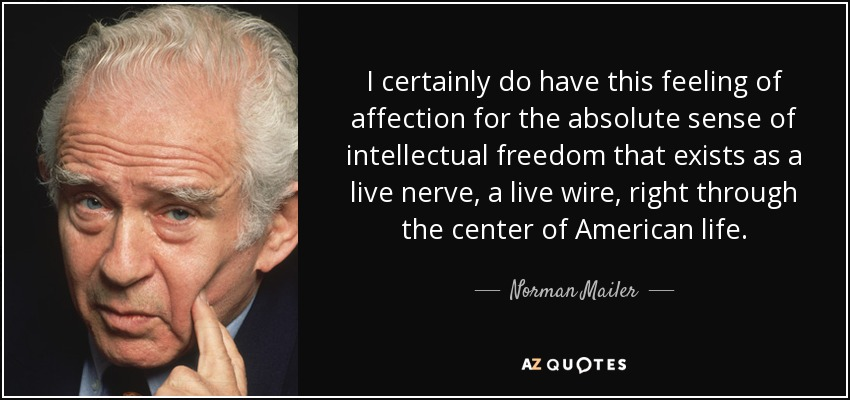 I certainly do have this feeling of affection for the absolute sense of intellectual freedom that exists as a live nerve, a live wire, right through the center of American life. - Norman Mailer